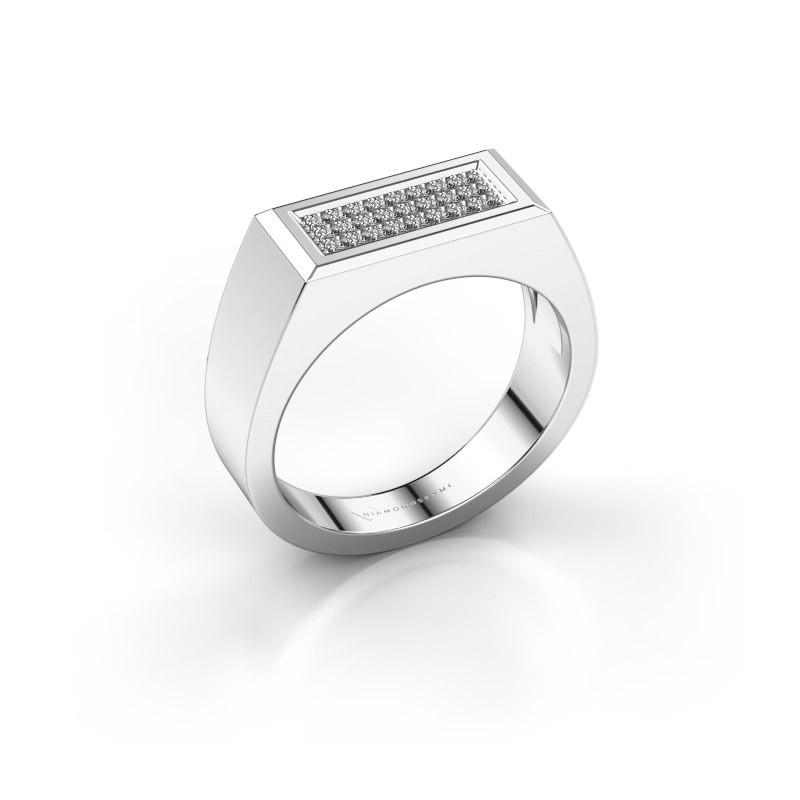 Heren ring Dree 6 585 witgoud diamant 0.16 crt