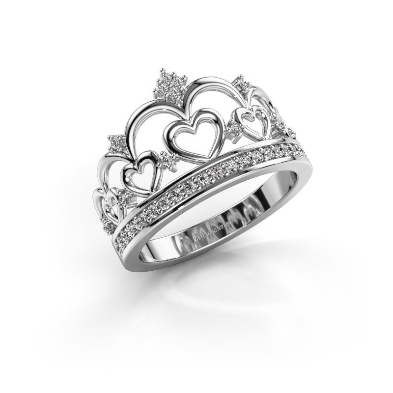 Ring Kroon 2 585 witgoud diamant 0.238 crt