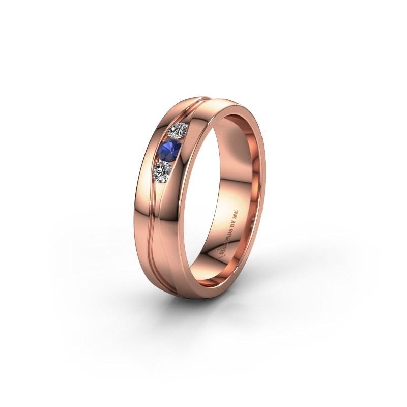 Trouwring WH0172L25A 585 rosé goud saffier ±5x1.7 mm