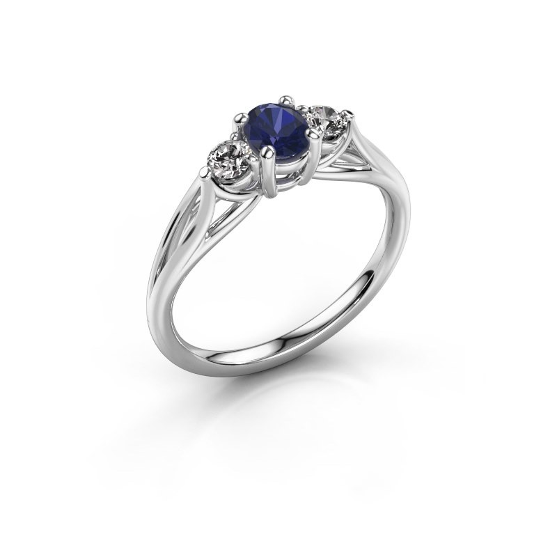 Engagement ring Amie OVL 585 white gold sapphire 7x5 mm