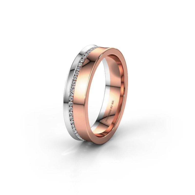 Trouwring WH6090L55A 585 rosé goud diamant ±5x1.7 mm