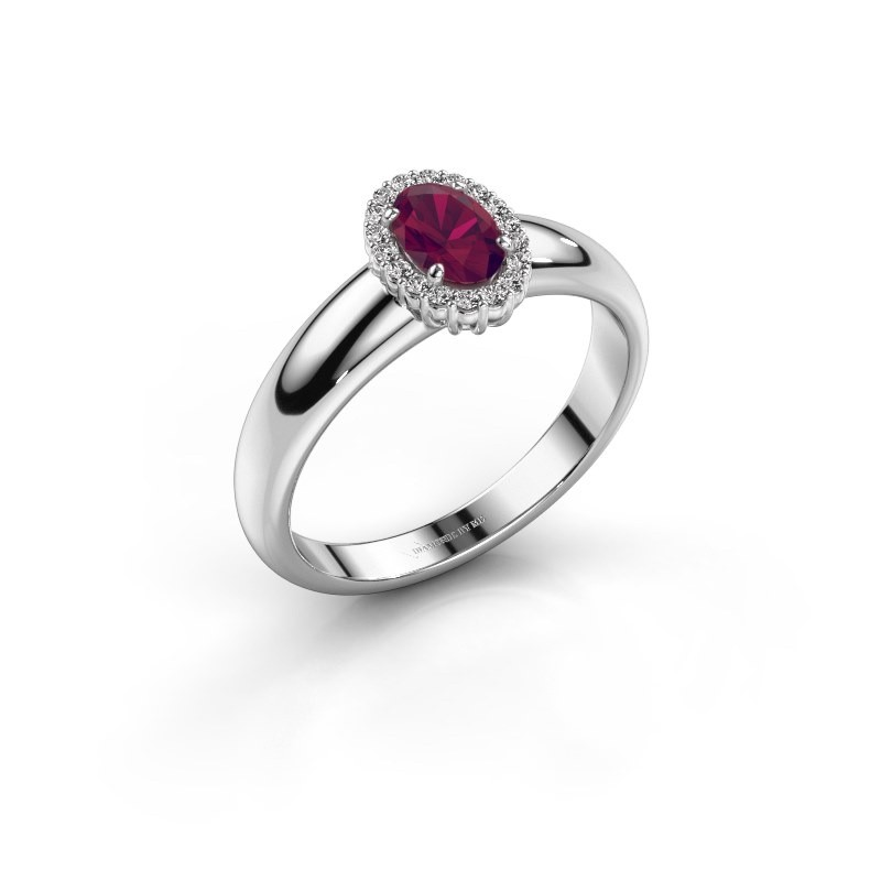 Engagement ring Tamie 585 white gold rhodolite 6x4 mm