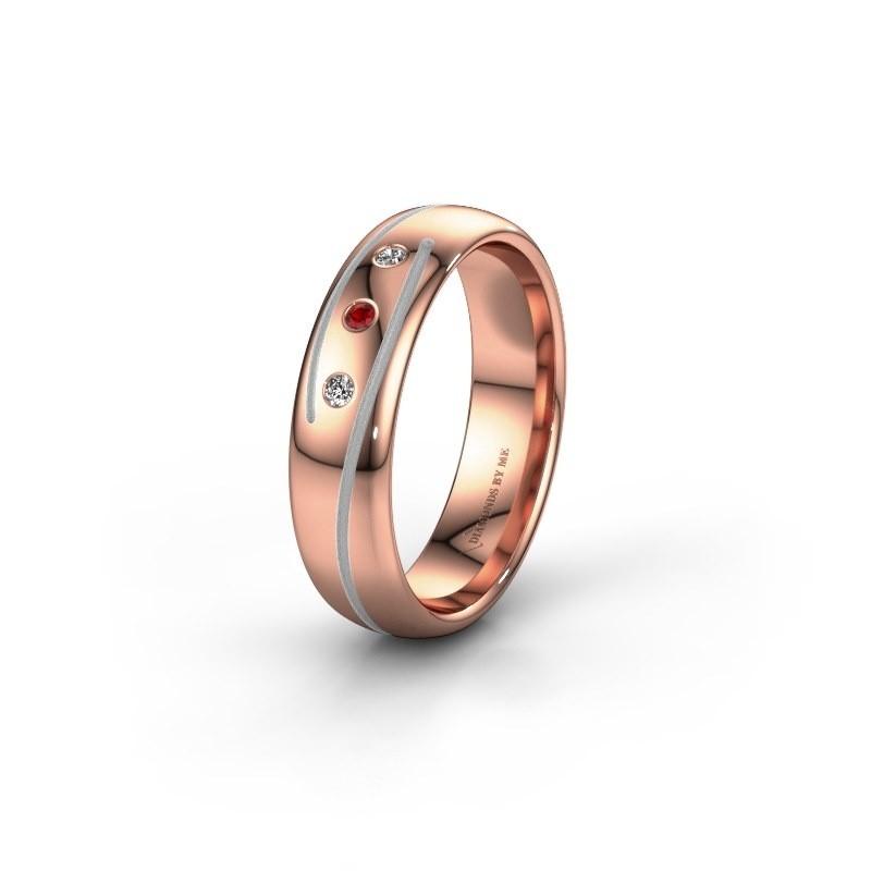 Trouwring WH0152L25A 585 rosé goud robijn ±5x1.7 mm