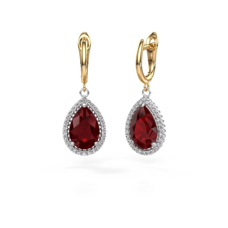 Drop earrings Hana 1 585 white gold ruby 12x8 mm