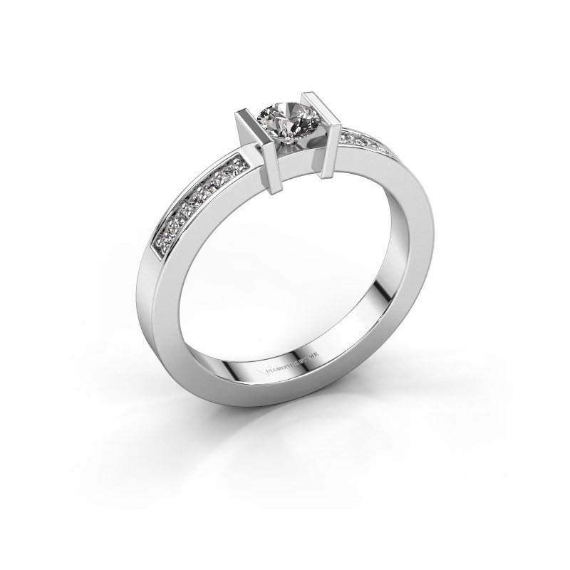 Aanzoeksring Maryam 585 witgoud diamant 0.35 crt