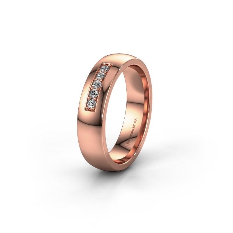 Trouwring WH0111L25BP 585 rosé goud diamant ±5x2 mm