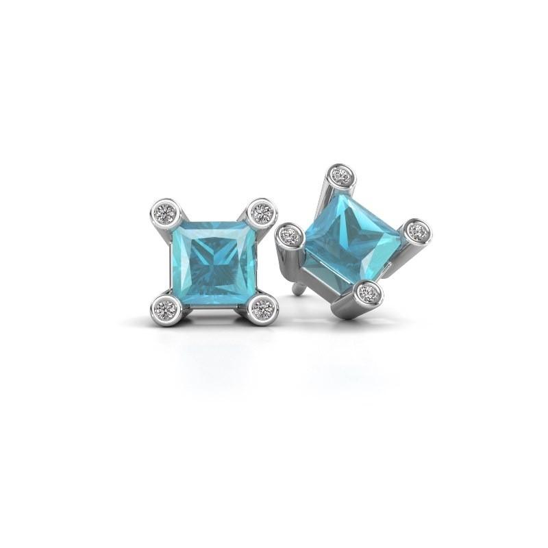 Oorstekers Cornelia Square 585 witgoud blauw topaas 6 mm