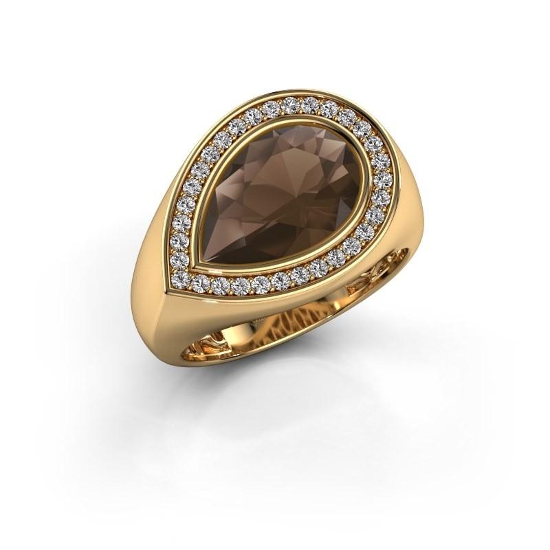 Ring Latashia 585 goud rookkwarts 12x8 mm