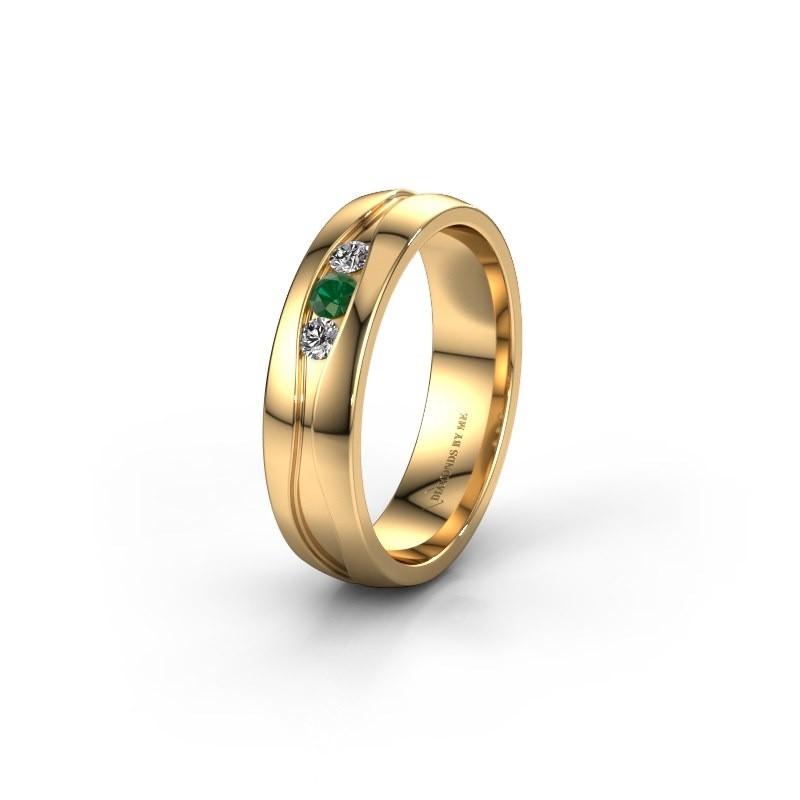 Trouwring WH0172L25A 375 goud smaragd ±5x1.7 mm