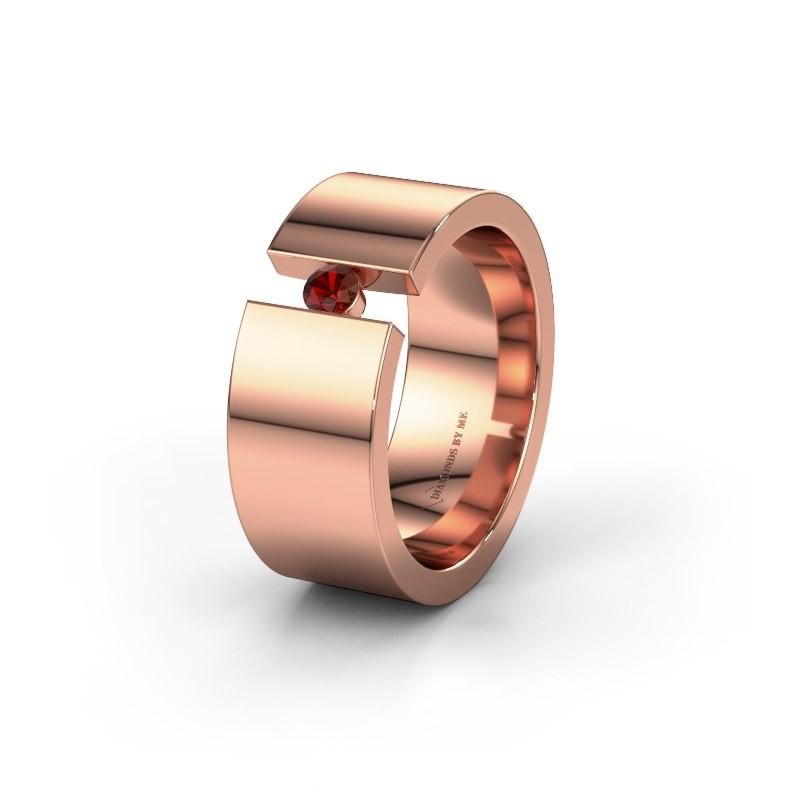 Trouwring WH0146L18BP 585 rosé goud granaat ±8x2 mm