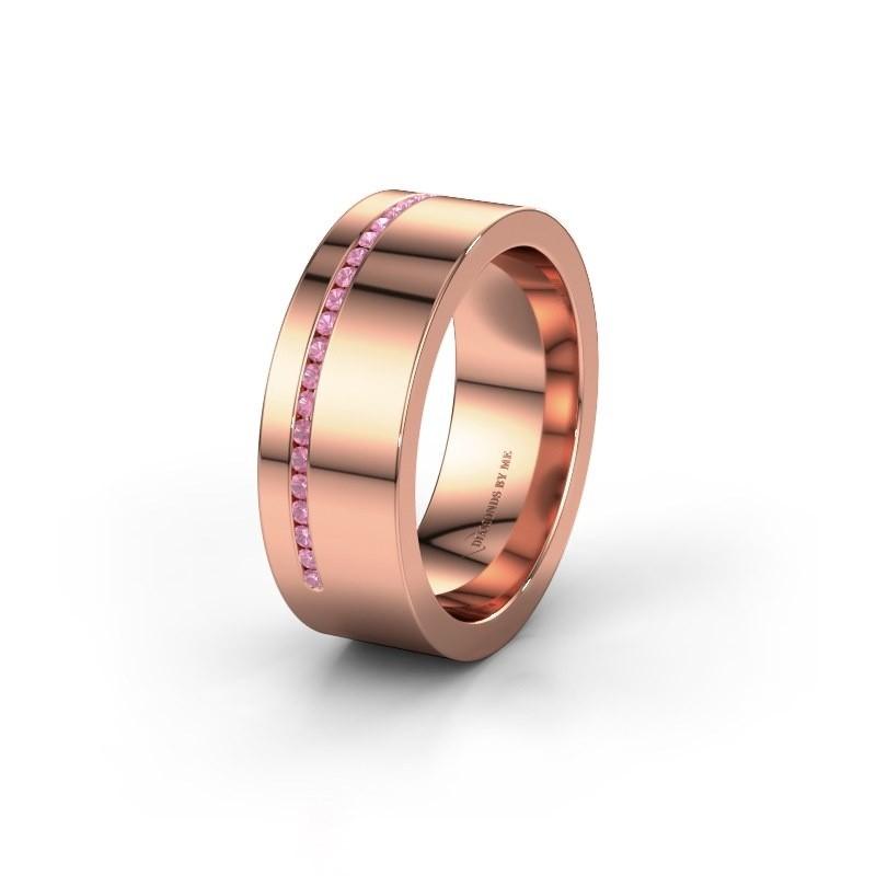 Trouwring WH0143L17BP 585 rosé goud roze saffier ±7x2 mm