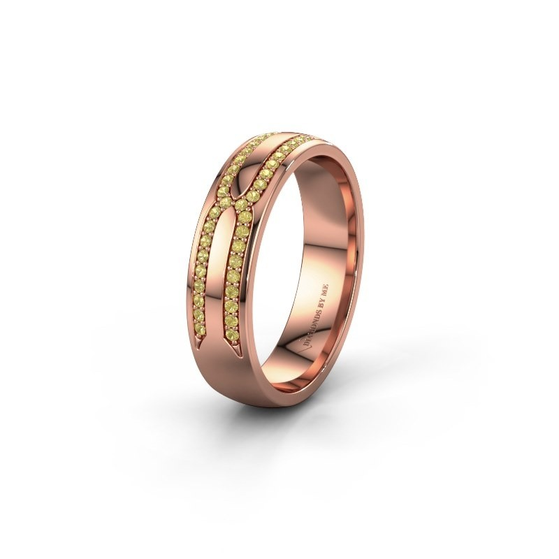 Trouwring WH2212L25AP 585 rosé goud gele saffier ±5x1.7 mm