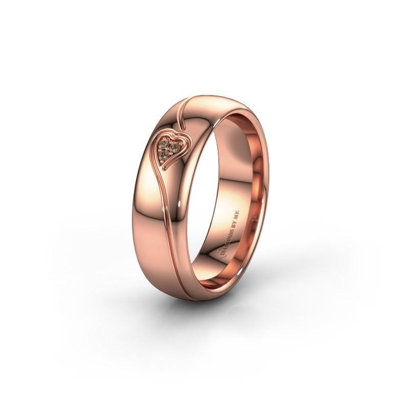 Trouwring WH0168L36AP 585 rosé goud bruine diamant ±6x1.7 mm
