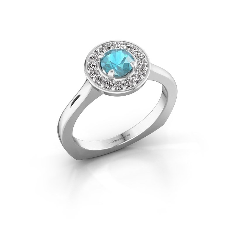 Ring Kanisha 1 585 witgoud blauw topaas 5 mm