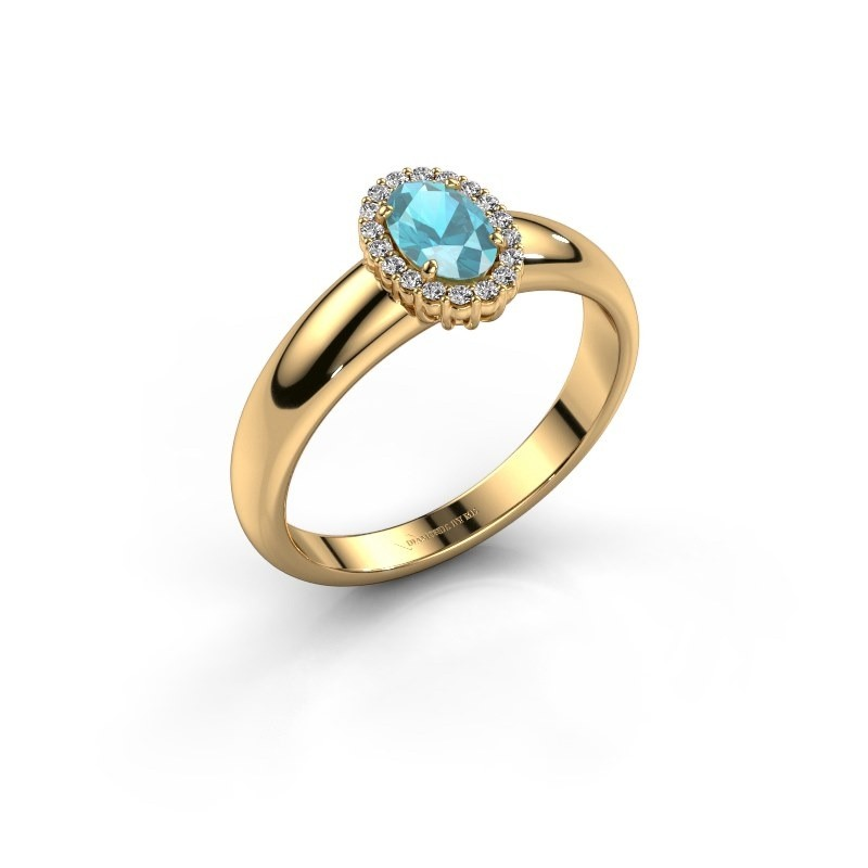 Engagement ring Tamie 750 gold blue topaz 6x4 mm