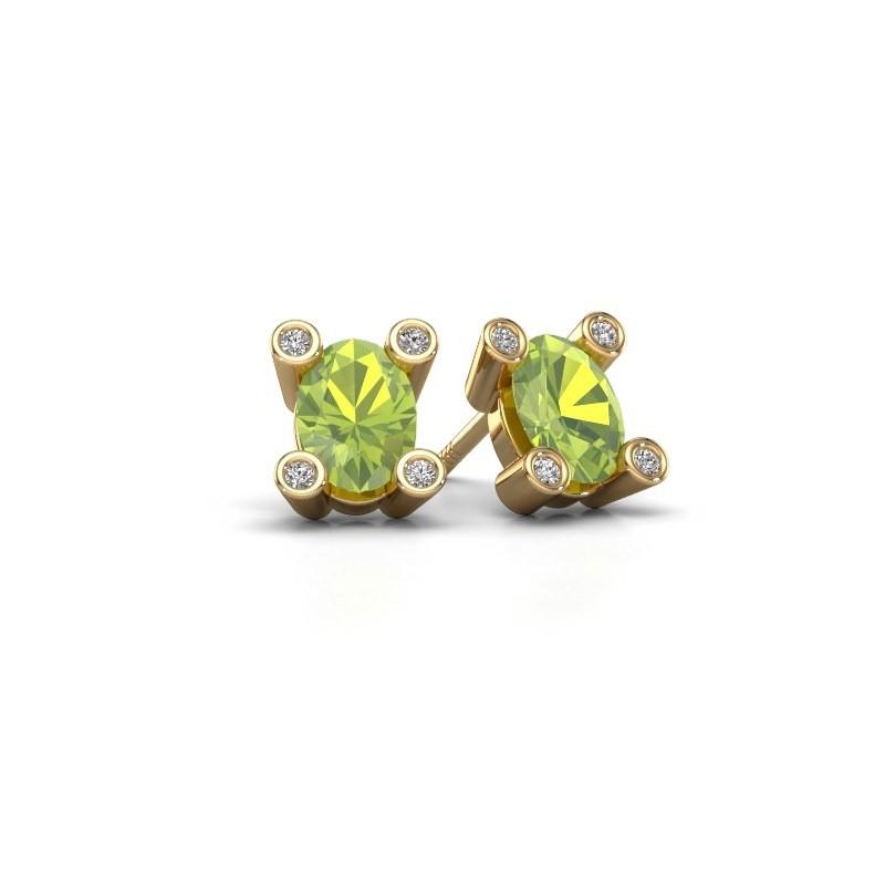 Oorstekers Cornelia Oval 585 goud peridoot 7x5 mm