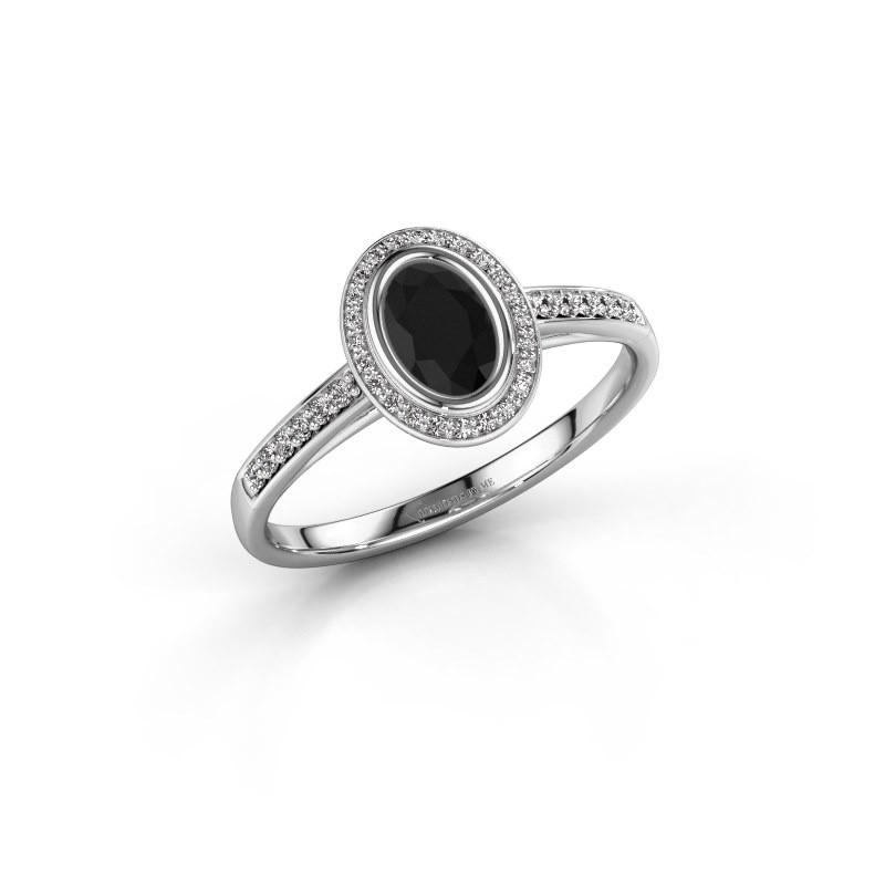 Verlovingsring Noud 2 OVL 585 witgoud zwarte diamant 0.74 crt