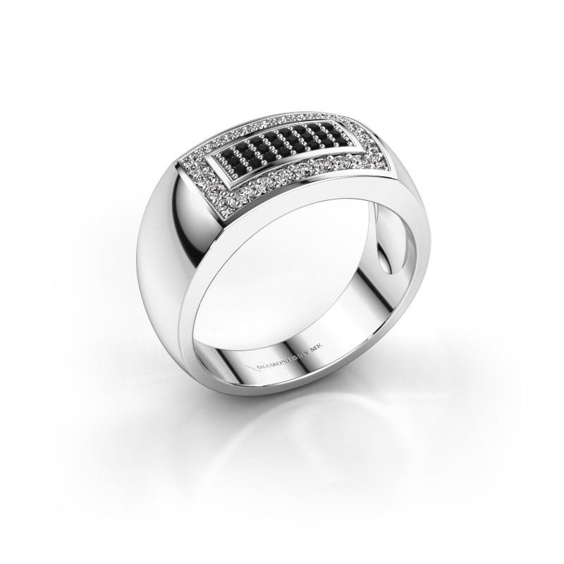 Mannen ring Lorenzo 585 witgoud zwarte diamant 0.552 crt