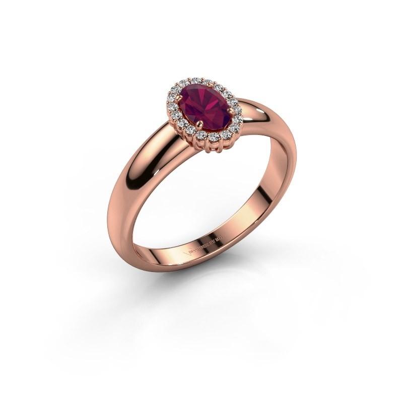Engagement ring Tamie 585 rose gold rhodolite 6x4 mm