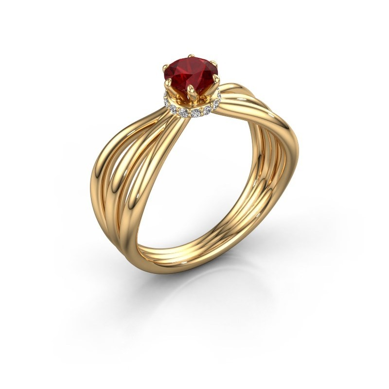 Verlovingsring Kimi 750 goud robijn 5 mm