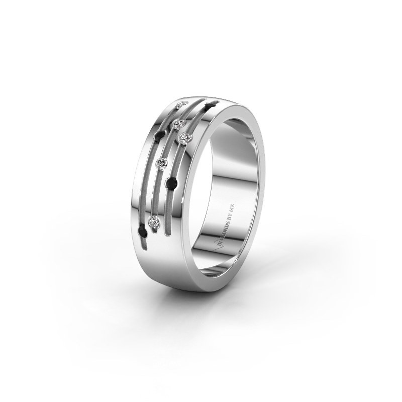 Trouwring WH0134L26B 925 zilver zwarte diamant ±6x2 mm