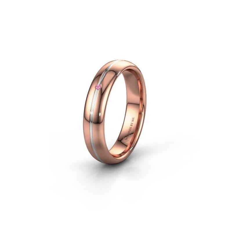 Trouwring WH2142L34A 585 rosé goud roze saffier ±4x1.7 mm