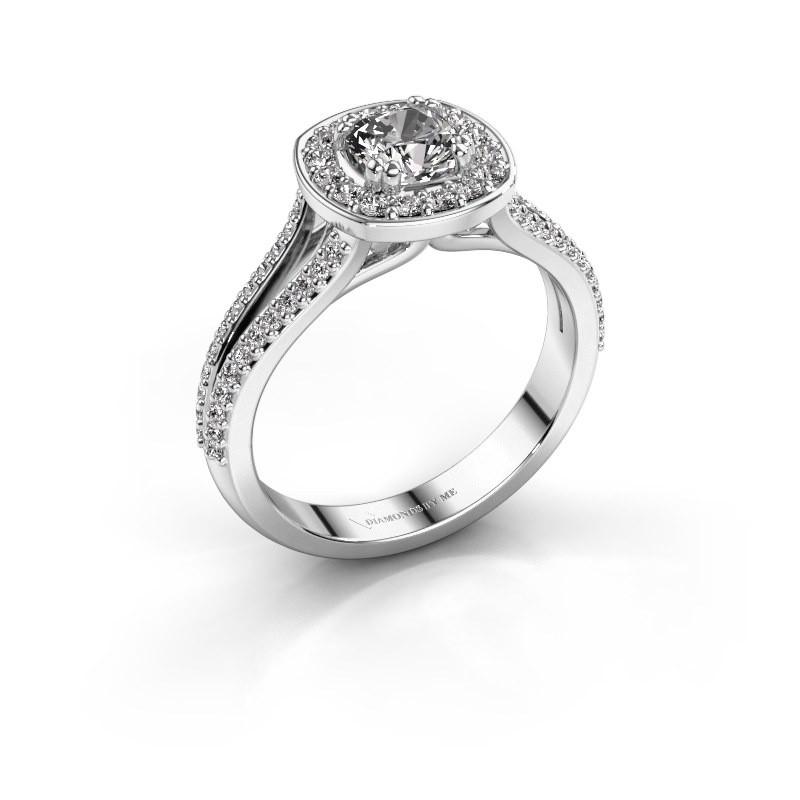Aanzoeksring Carolina 2 585 witgoud diamant 0.90 crt