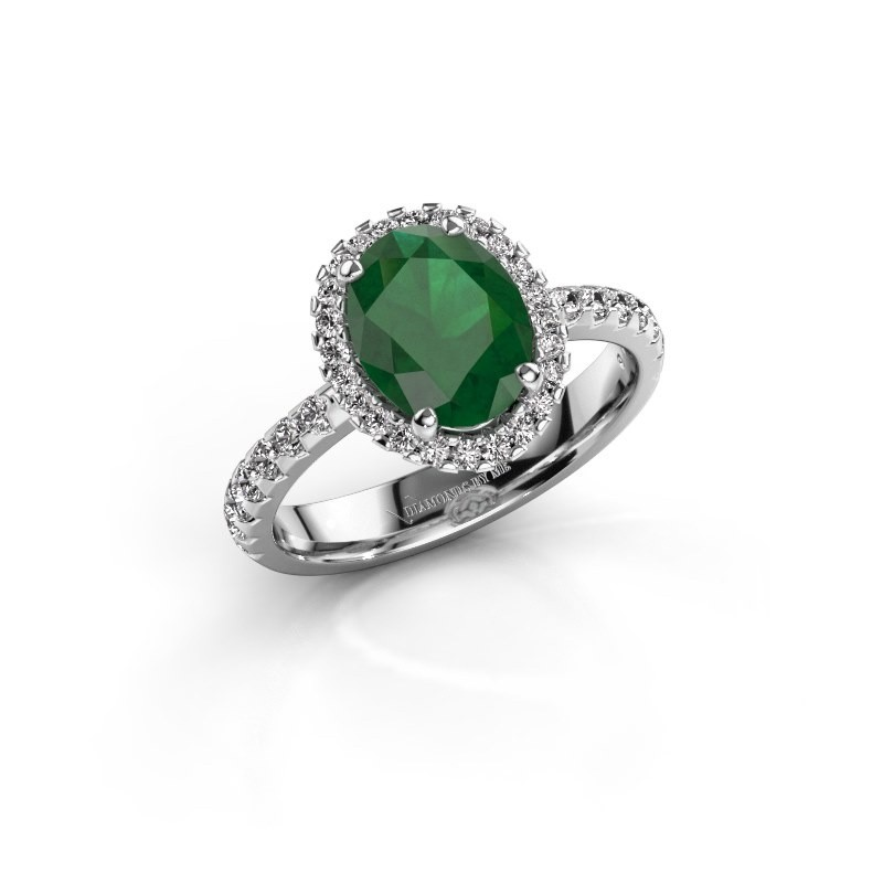 Verlovingsring Lavelle 585 witgoud smaragd 9x7 mm