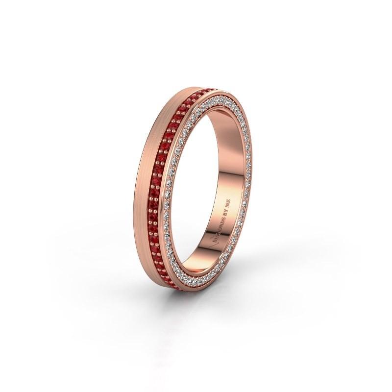 Trouwring WH2214L15BM 585 rosé goud robijn 1 mm ±5x2 mm