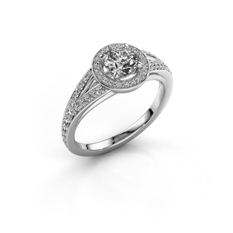 Aanzoeksring Angelita RND 585 witgoud diamant 0.832 crt