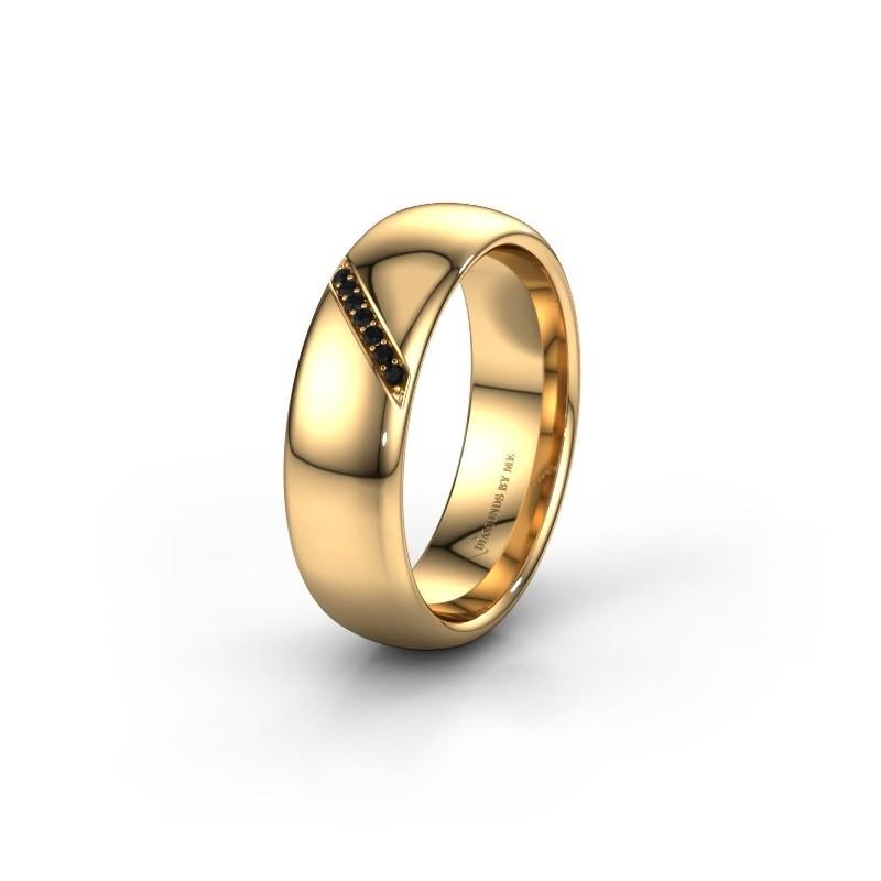 Trouwring WH0164L36B 585 goud zwarte diamant ±6x2 mm