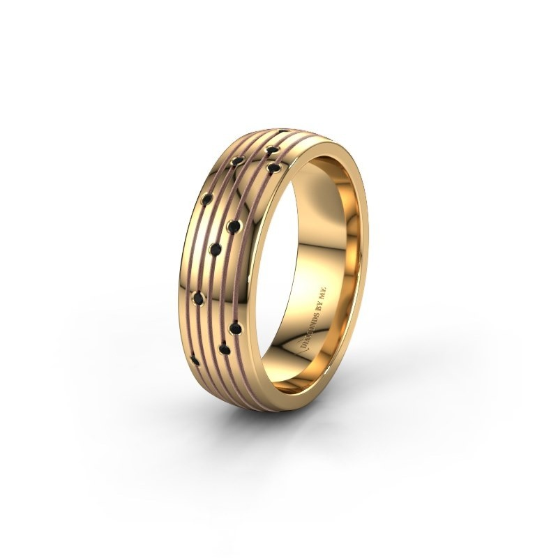 Trouwring WH0150L26A 585 goud zwarte diamant ±6x1.7 mm