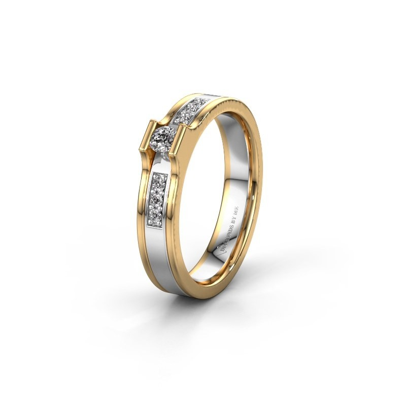 Trouwring WH2110L14A 585 witgoud diamant ±4x1.7 mm