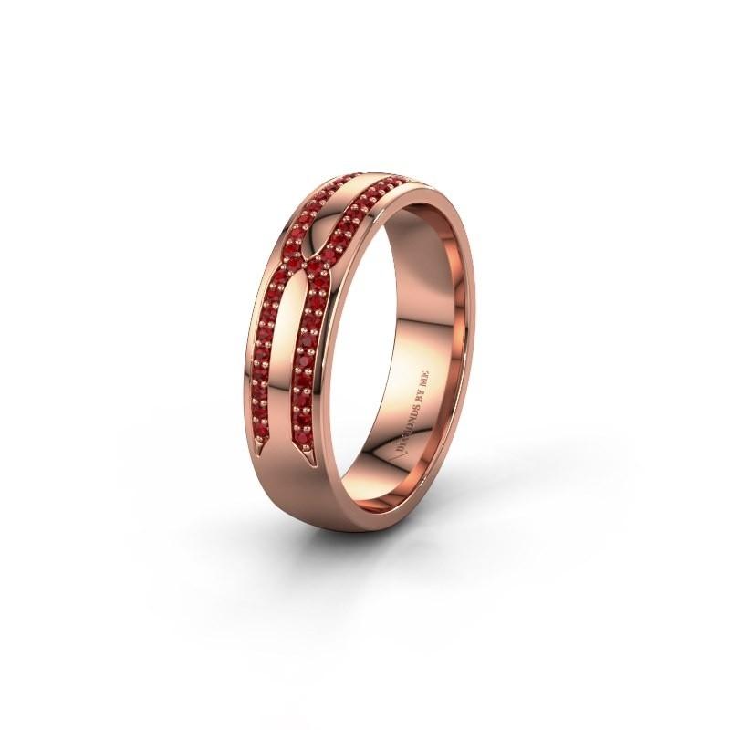 Trouwring WH2212L25AP 585 rosé goud robijn ±5x1.7 mm