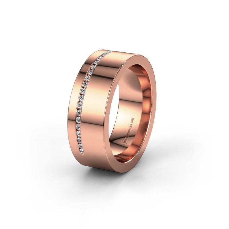 Trouwring WH0143L17BP 585 rosé goud lab created ±7x2 mm