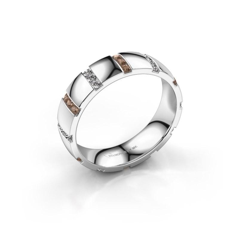 Huwelijksring Juul 950 platina bruine diamant ±5x1.8 mm