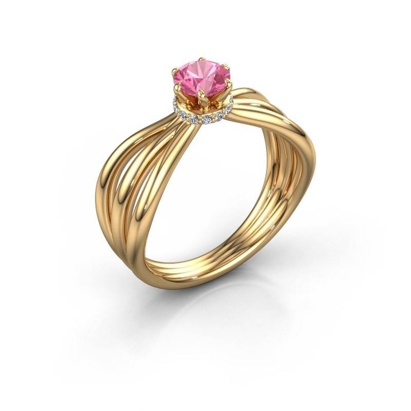 Verlovingsring Kimi 750 goud roze saffier 5 mm
