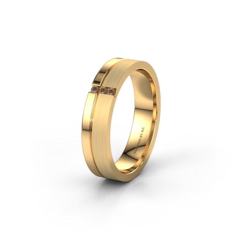 Trouwring WH0157L14XPM 585 goud bruine diamant ±4x1.4 mm