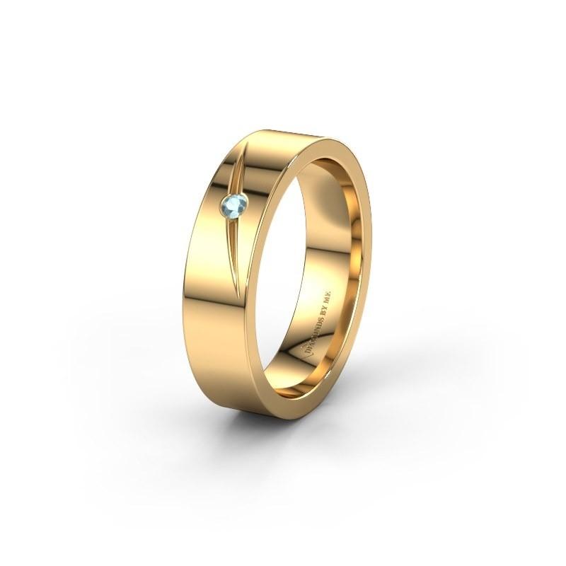 Trouwring WH0170L15A 375 goud aquamarijn ±5x1.7 mm
