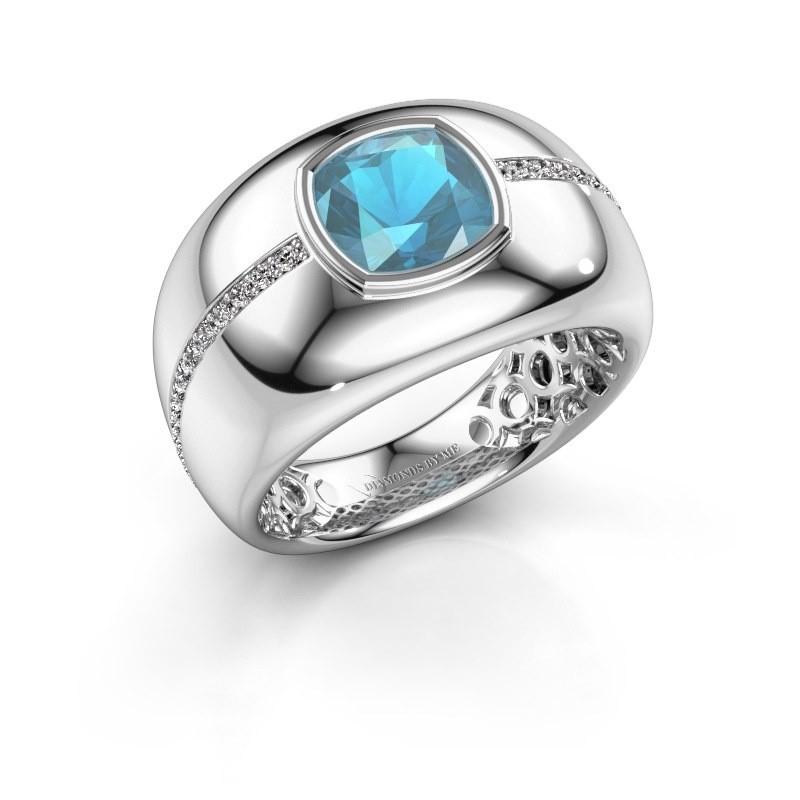 Ring Sydney 585 witgoud blauw topaas 7.5 mm