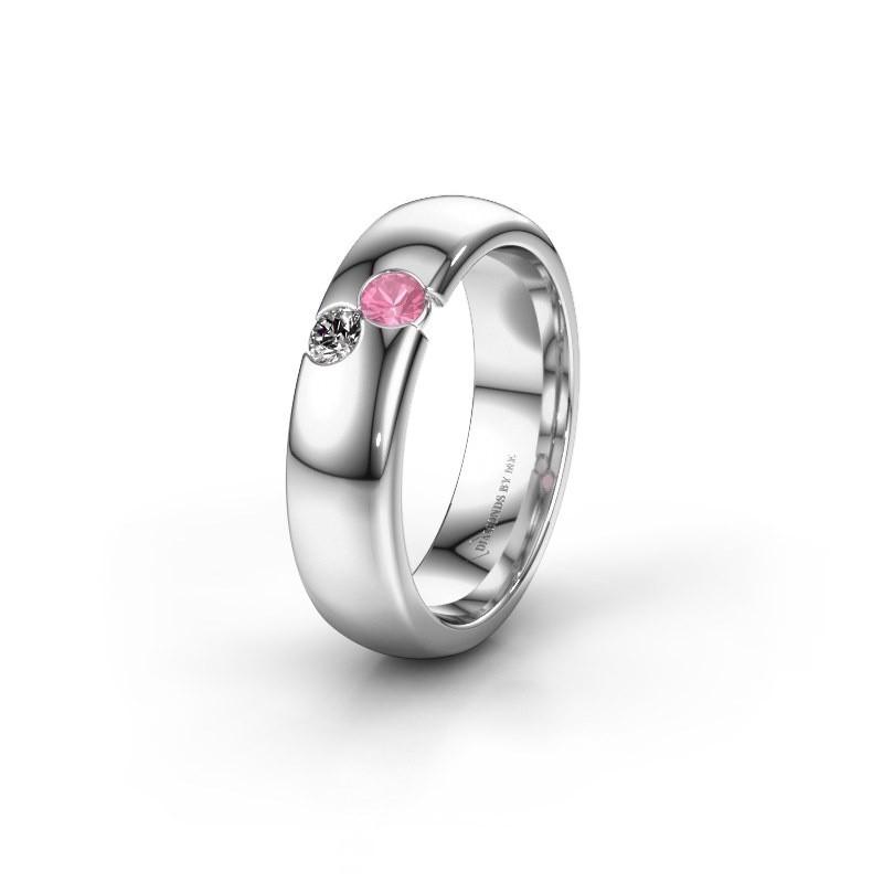 Trouwring WH1003L26C 925 zilver roze saffier ±6x2.2 mm