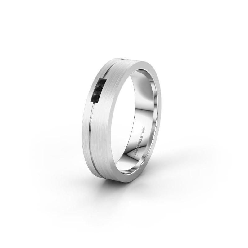 Trouwring WH0156L14X 375 witgoud zwarte diamant ±4x1.4 mm