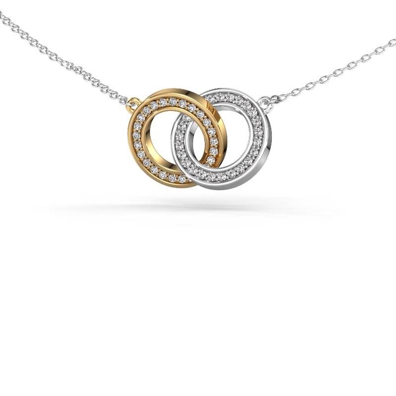 Halsketting Circles 2 585 goud diamant 0.25 crt
