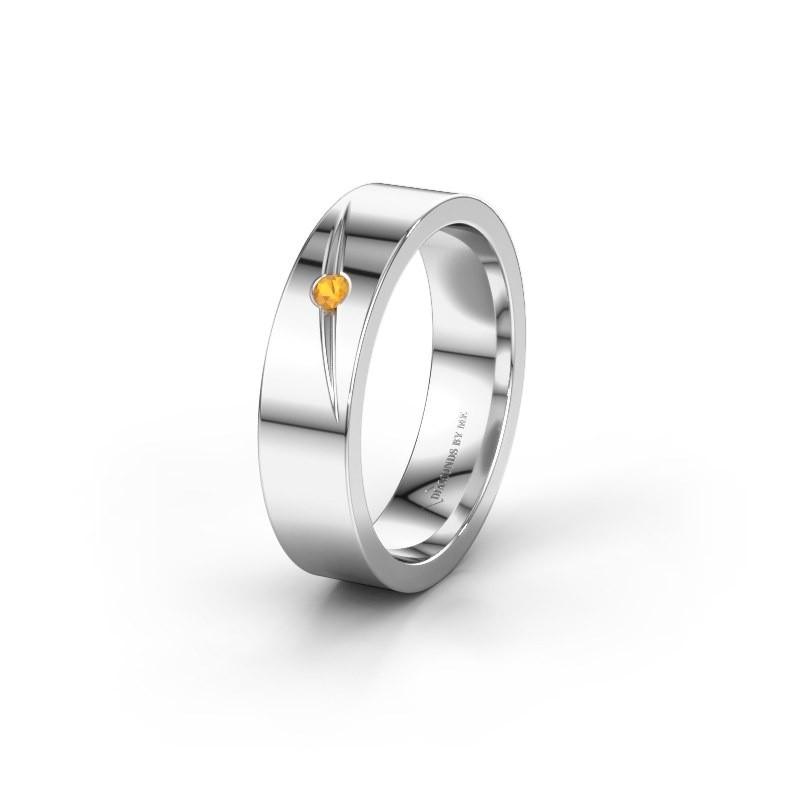 Trouwring WH0170L15A 925 zilver citrien ±5x1.7 mm