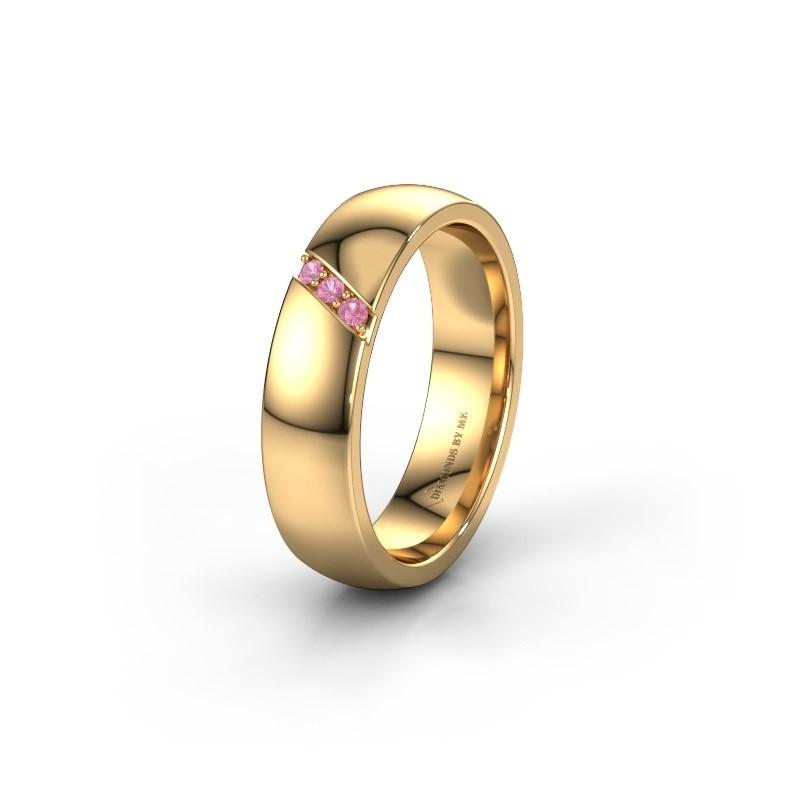 Trouwring WH0174L25BP 375 goud roze saffier ±5x2 mm