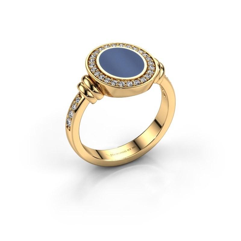 Zegelring Frido 585 goud blauw lagensteen 10x8 mm