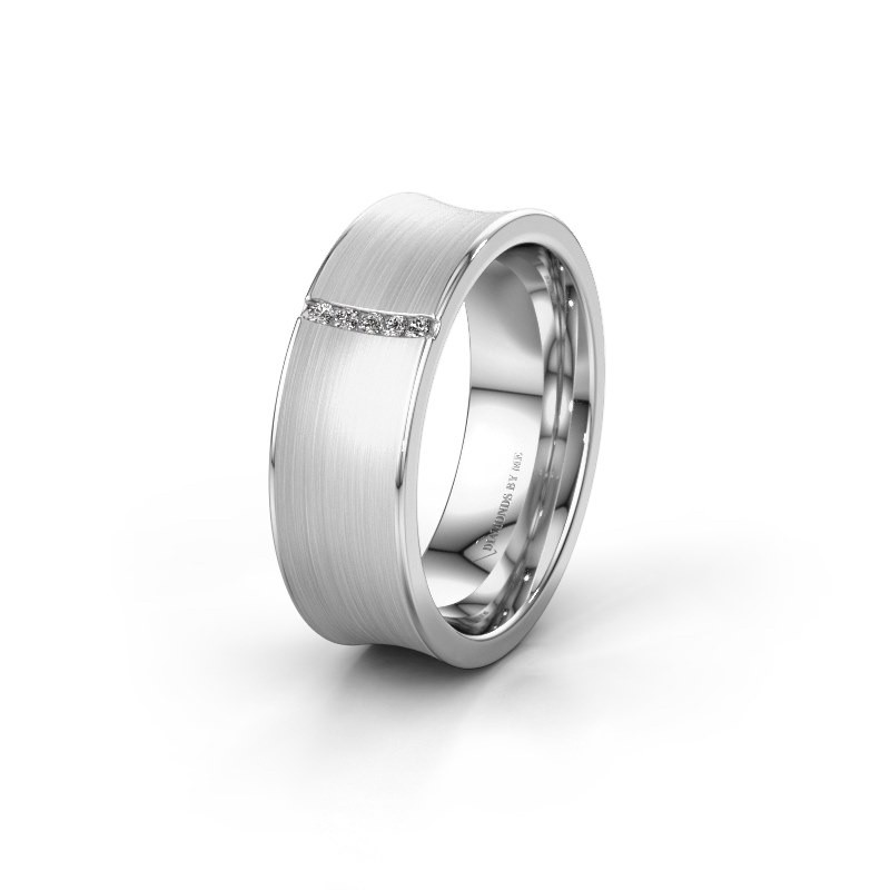 Trouwring WH2021B 585 witgoud diamant ±6x2 mm