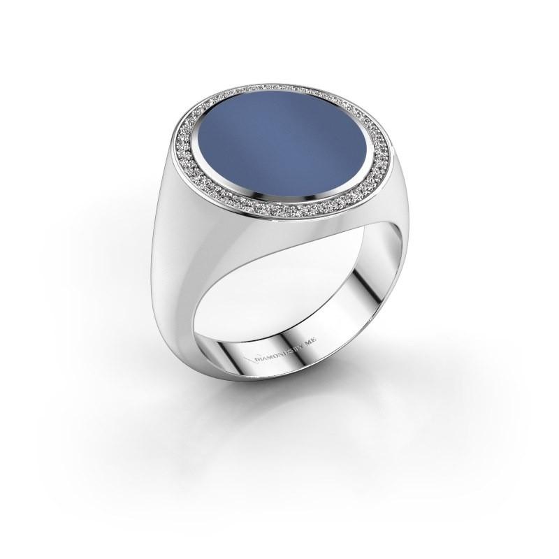 Zegelring Adam 5 585 witgoud blauw lagensteen 15x13 mm