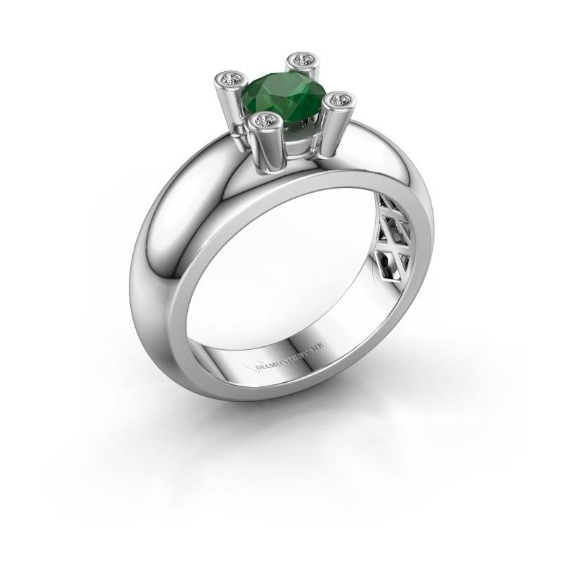 Ring Cornelia Round 585 witgoud smaragd 5 mm