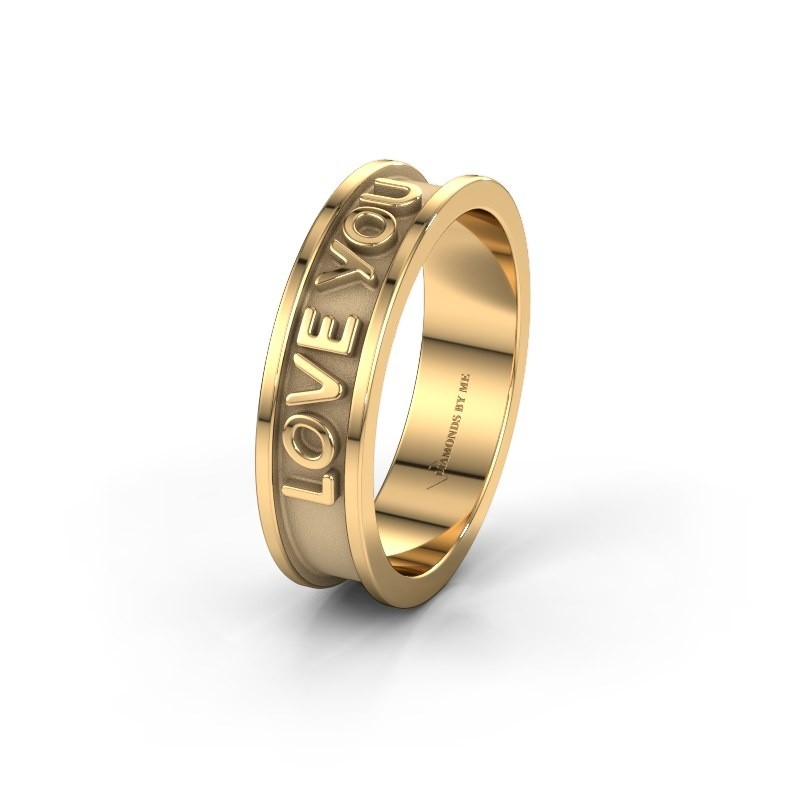 Trouwring namering 1 585 goud ±6x1.7 mm